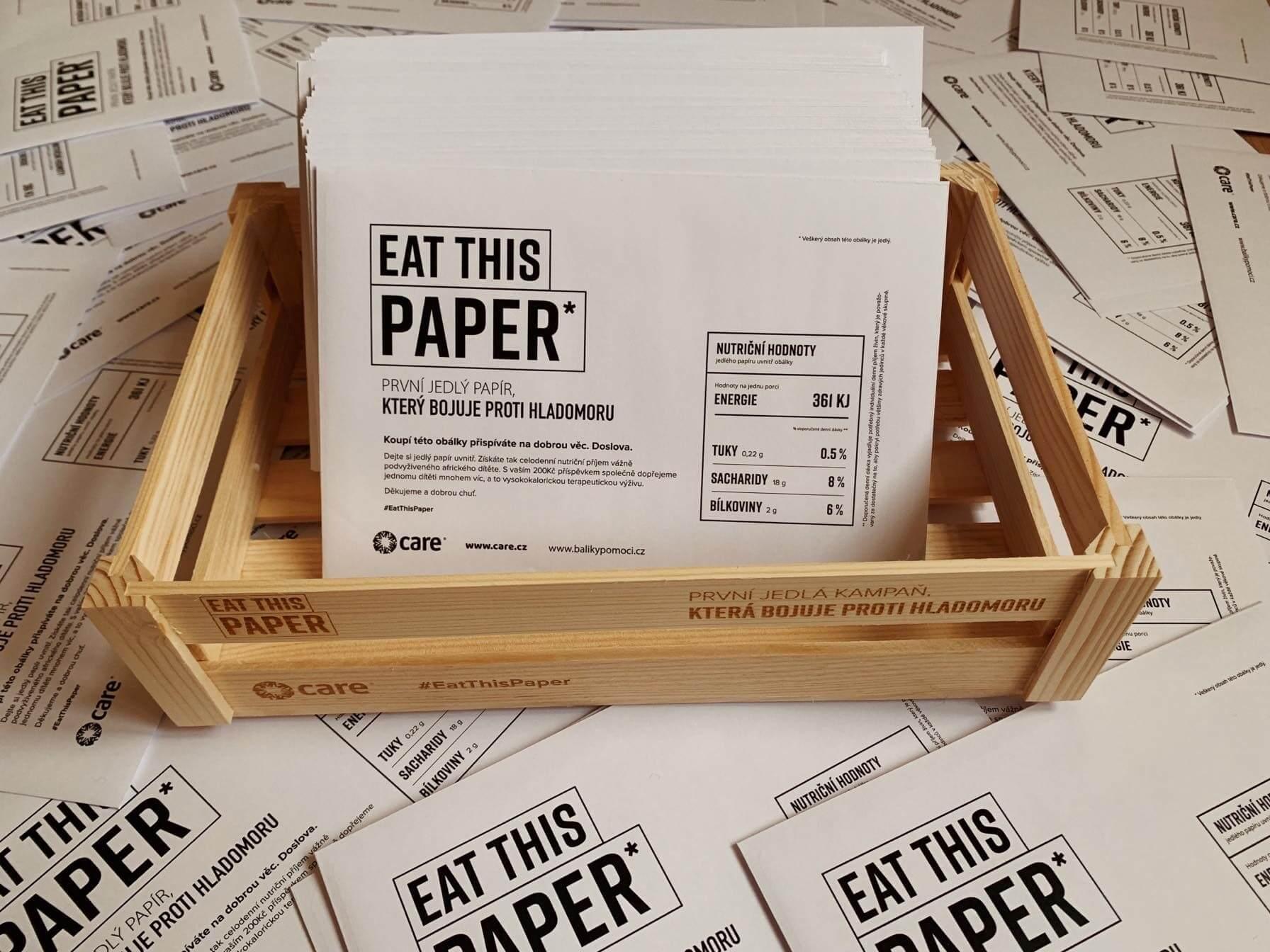 EAT THIS PAPER bojuje proti hladomoru